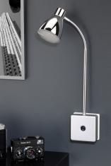 LED Steckerspot 3W mit Schalter und Flexarm, Chromfarben