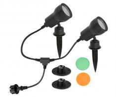LED Außenleuchte, schwarz, 2xLED/GU10/3W
