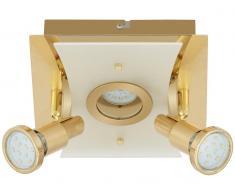 LED Deckenleuchte, gold, 2xLED/GU10/5W,1xLED/5W
