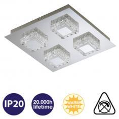 LED Wand-Deckenleuchte 4-flammig chromfarbig