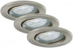 Prisma LED Einbauleuchten 3-er Set , matt-nickel 7225-032