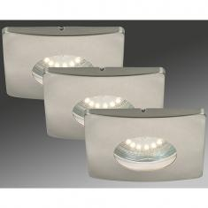 LED Einbauleuchten 3-er Set, matt-nickel, 3 x 4 Watt IP44