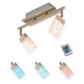 Briloner Leuchten LED Deckenstrahler 2-flg., Farbsteuerung/Farbwechsel mit Fernbedienung, dimmbar