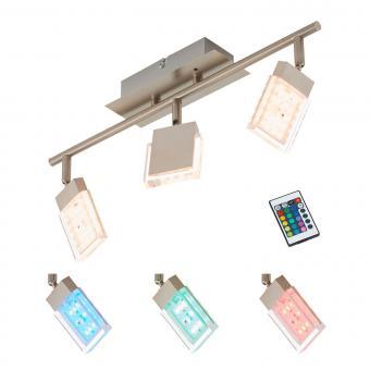Briloner Leuchten LED Deckenstrahler 3-flg., Farbsteuerung/Farbwechsel mit Fernbedienung, dimmbar