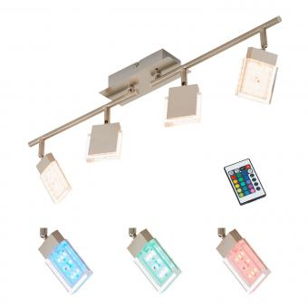 Briloner Leuchten LED Deckenstrahler 4-flg., Farbsteuerung/Farbwechsel mit Fernbedienung, dimmbar