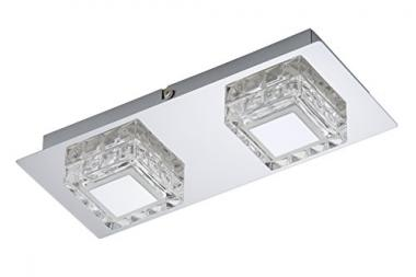 LED Wand-Deckenleuchte 2-flammig chromfarbig