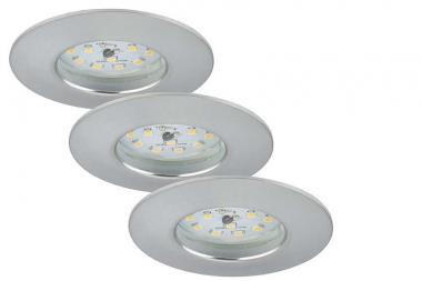 Briloner LED Einbauleuchten dimmbar 3-er Set , aluminiumfarbig 7231-039