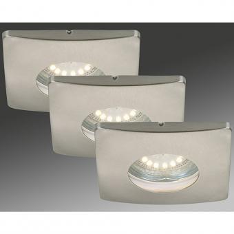 LED Einbauleuchten 3-er Set, matt-nickel, 3 x 4 Watt IP44