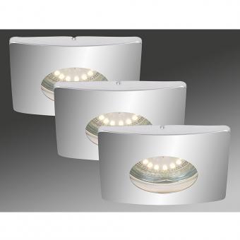 LED Einbauleuchten 3-er Set, chrom, 3 x 4 Watt IP44