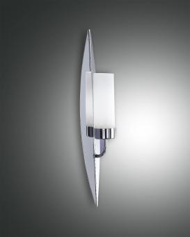 Wandleuchte Vanity, E14 1X60W, Metall und geblasenes Glas weiß,  verchromt