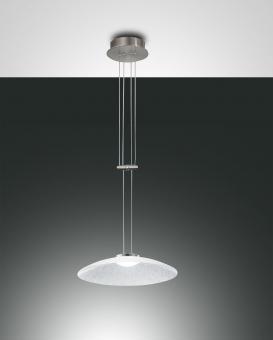 Pendelleuchte Scrub, LED, 18W, Ø40cm, Metall Nickel satiniert/Aluminium, Glas transparent